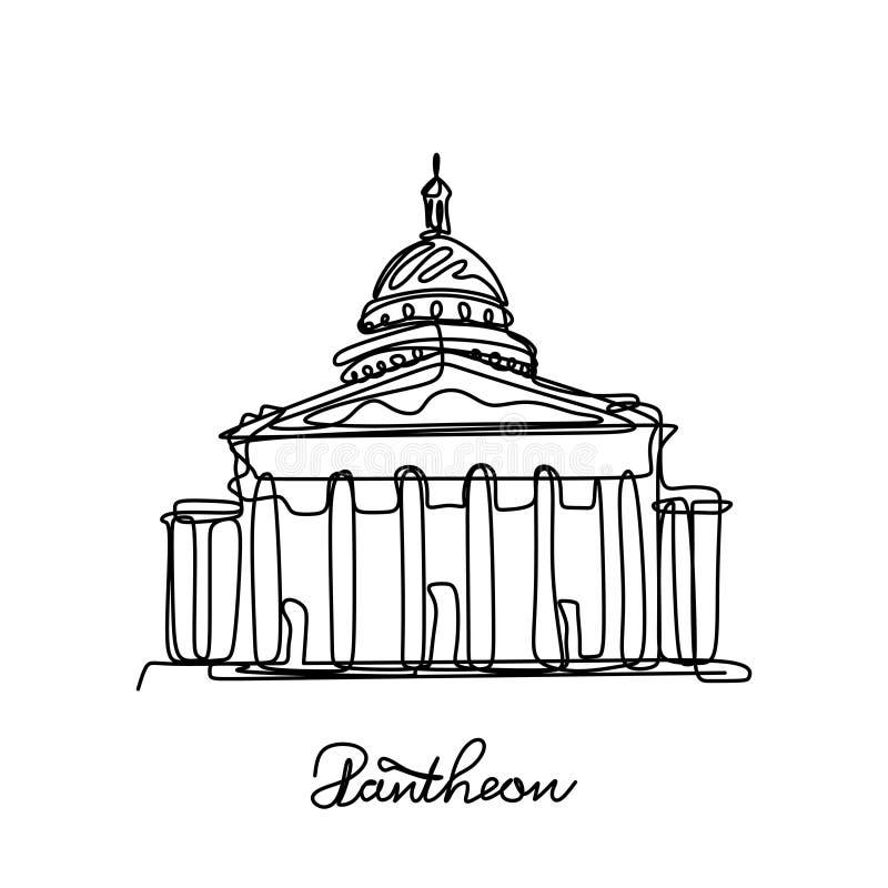 Continu illustration Panthéon de vecteur de dessin au trait Endroit populaire à Paris, France illustration stock