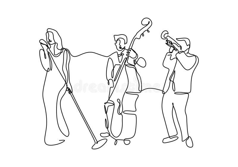 Continu lecteur de musique de jazz de dessin au trait Un groupe de chanteur, joueur de violoncelle, personne de trompette d'isole illustration libre de droits