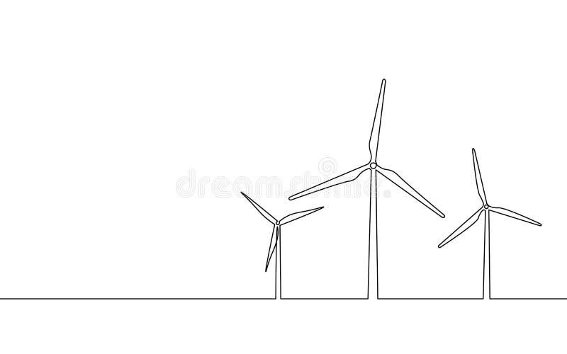 Continu simple générateur de vent de schéma L'électricité verte d'énergie d'écologie de sauvegarde Contour de croquis de la tour  illustration stock
