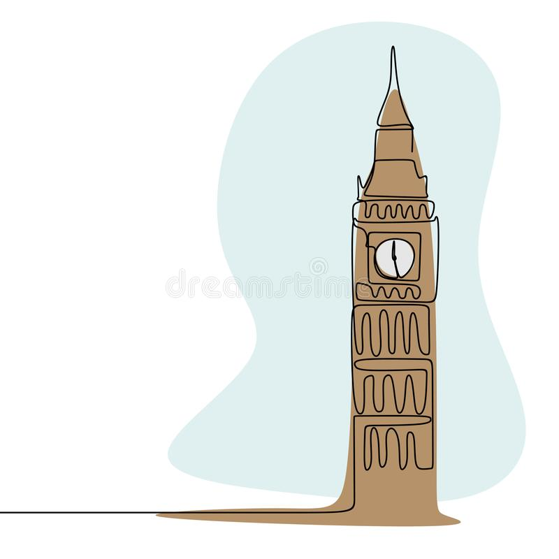 Continu tour d'horloge de Londres la Cité de Westminster Big Ben style de minimalisme de dessin au trait avec l'illustration de v illustration stock