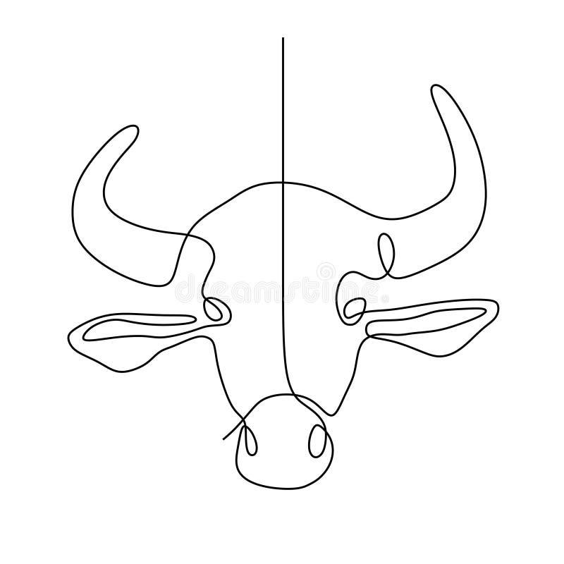 Continua o a lápis desenho da cabeça da vaca ilustração stock