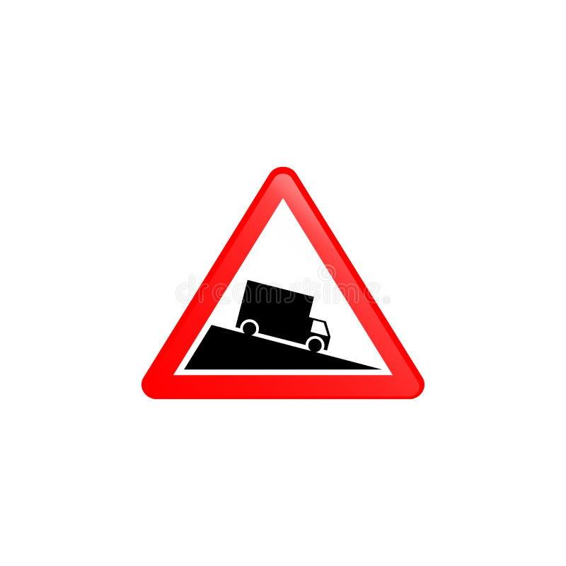 A continuación icono decente escarpado Elemento del icono de las señales de tráfico para los apps móviles del concepto y del web  stock de ilustración