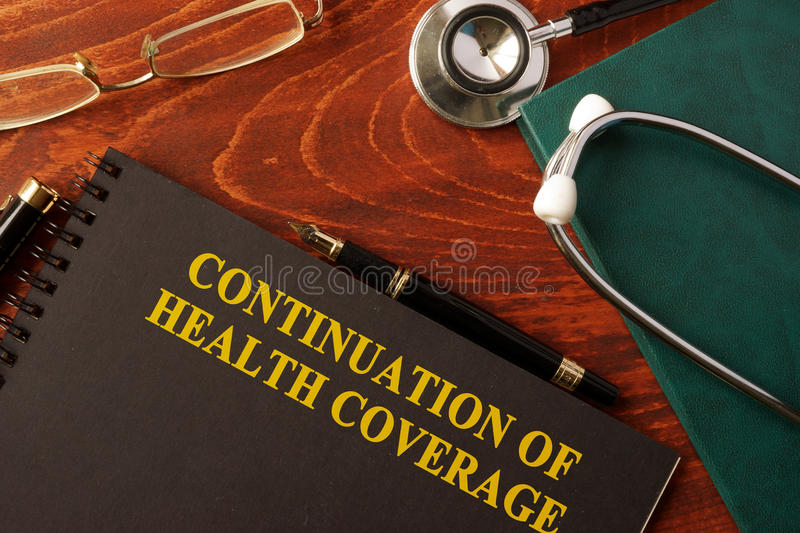 Continuation of Health Coverage. Book with title Continuation of Health Coverage stock image