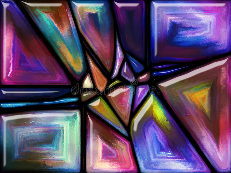 The Continuation of Pattern. Patterns of Color series. Backdrop design of painted stained glass pattern for works on imagination, creativity and art stock image