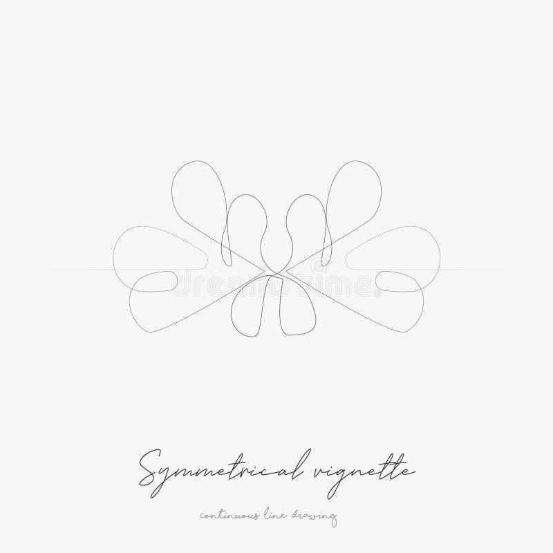 Continue lijntekening symmetrisch vignet eenvoudige vectorillustratie symmetrisch vignetconcept handtekeningslijn royalty-vrije illustratie