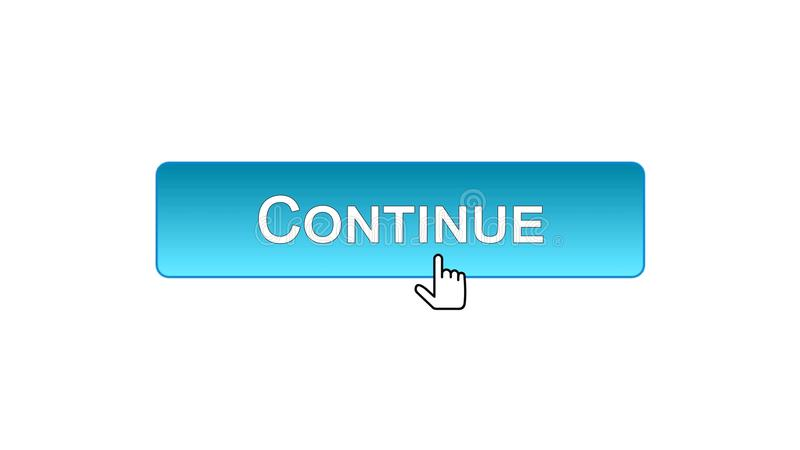 Continue o cursor clicado botão do rato da relação da Web, cor azul, registro ilustração royalty free