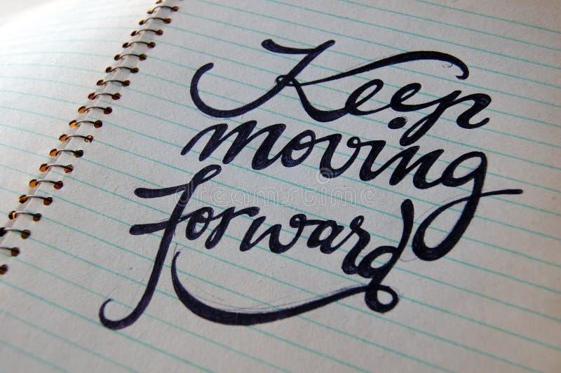 Continuez à faire avancer le fond calligraphique photo stock