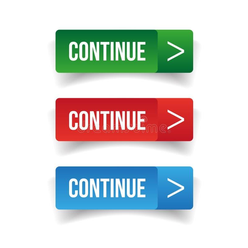 Continuez l'ensemble de bouton illustration de vecteur