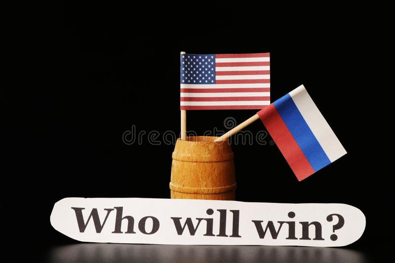 A continuing cold war until today. America hates russia and Russia hates USA. So how will end this game?. Black background stock photo