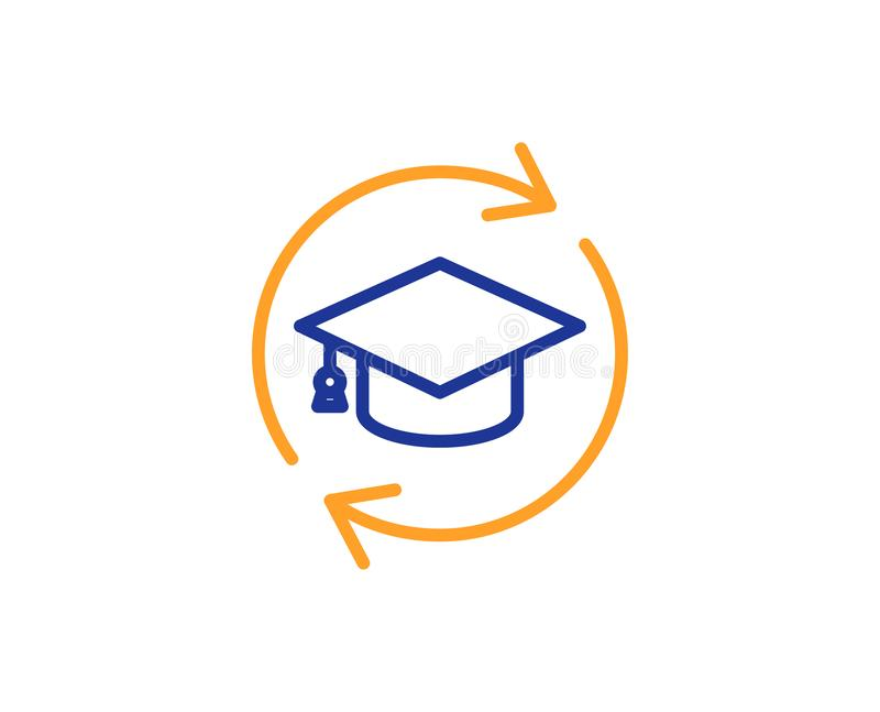 Continuing education line icon. Online education sign. Vector. Continuing education line icon. Online education sign. Colorful outline concept. Blue and orange royalty free illustration
