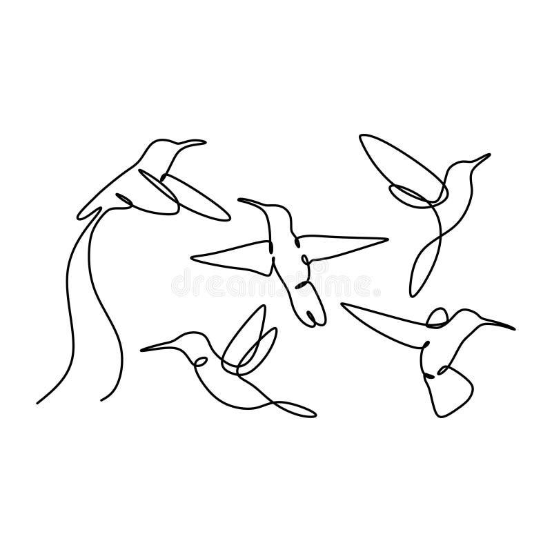 continuo collezioni stabilite dell'uccello del disegno a tratteggio progetta su fondo bianco illustrazione vettoriale