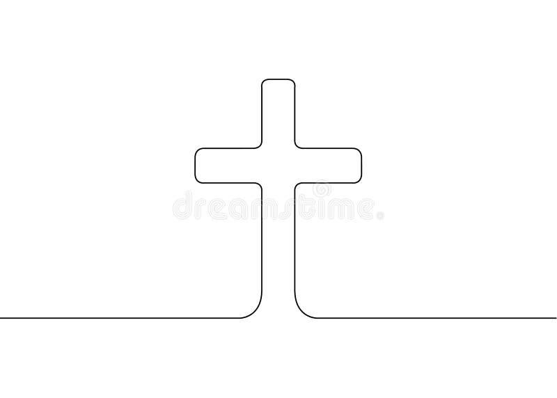 Continuo disegnato una linea del simbolo della religione illustrazione di stock