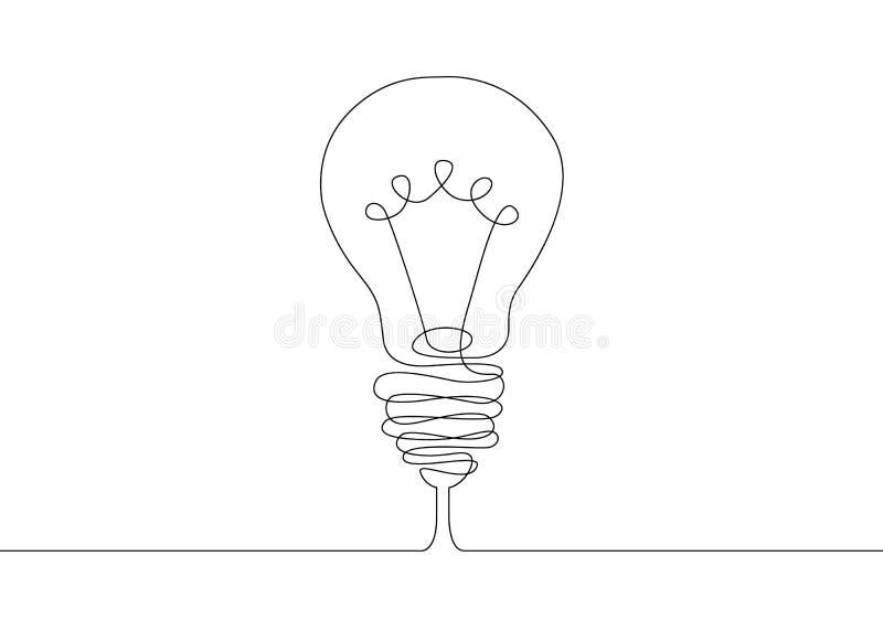 Continuo idea di simbolo della lampadina del disegno a tratteggio illustrazione di stock