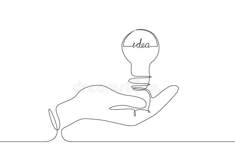 Continuo idea di simbolo della lampadina del disegno a tratteggio immagine stock libera da diritti