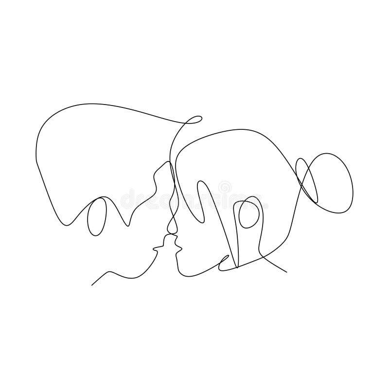 Continuo illustrazione delle coppie romantiche di vettore del disegno a tratteggio royalty illustrazione gratis