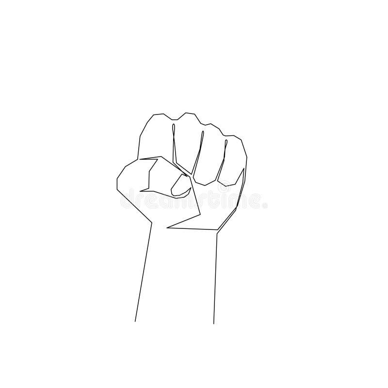 Continuo puño de una línea Signo de protesta, resistencia, rebelión Ilustración de las existencias libre illustration