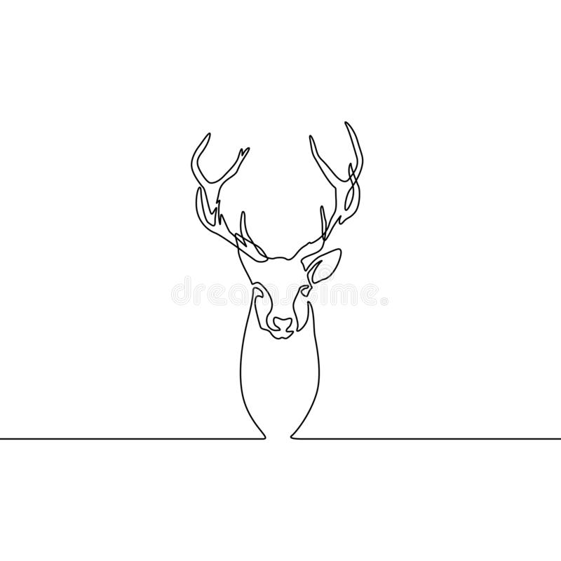 Continuo renna del disegno a tratteggio isolata su fondo bianco Illustrazione di vettore illustrazione vettoriale