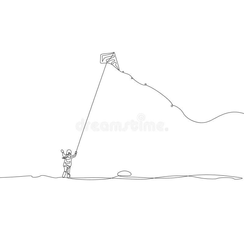 Continuo uomo felice del disegno a tratteggio con l'aquilone di volo, Makar Sankranti Illustrazione di vettore royalty illustrazione gratis