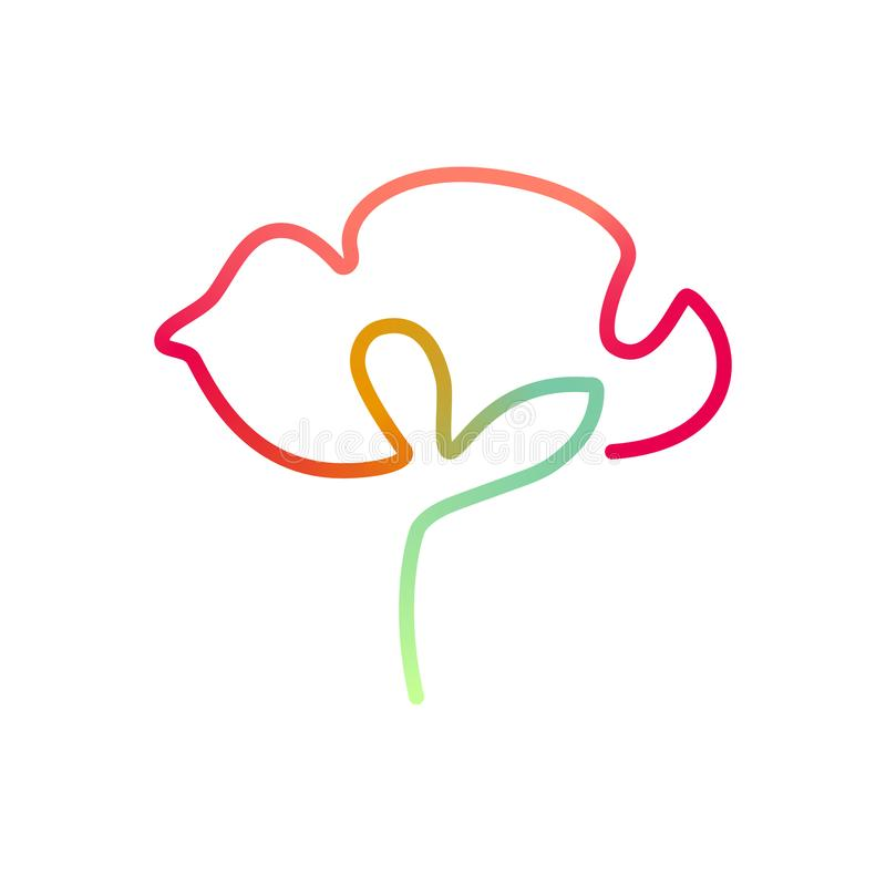 Continuous bright line art of poppy flower royalty free illustration