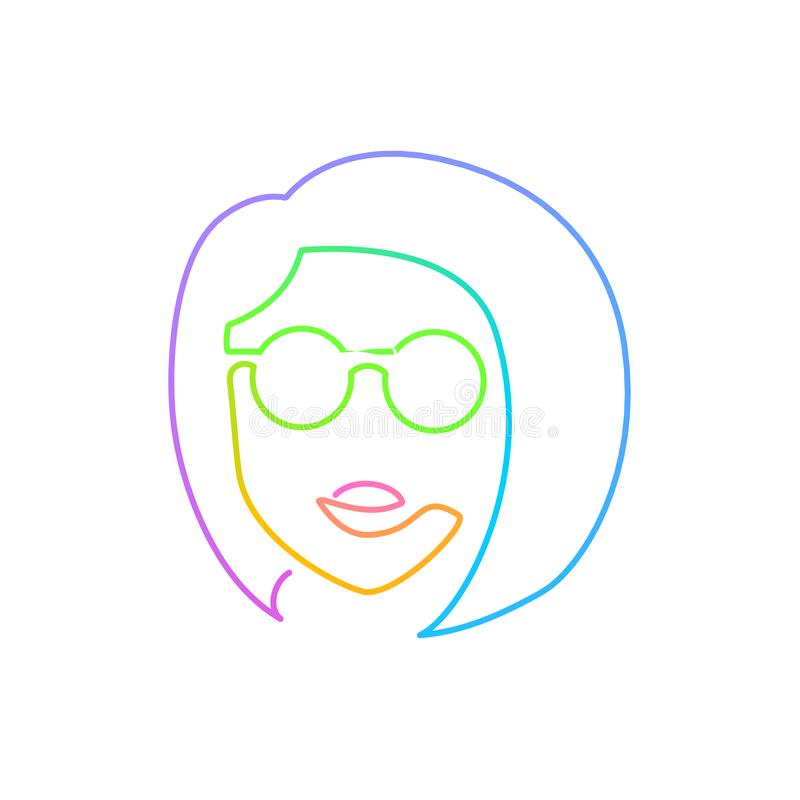 Continuous bright gradient line face in sun glasses royalty free illustration
