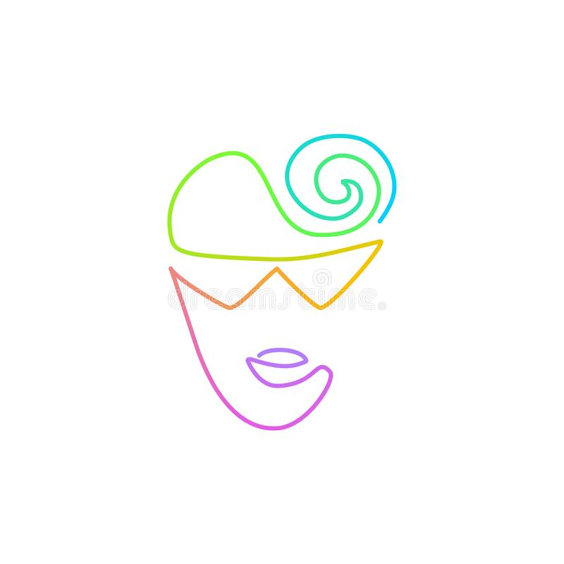 Continuous bright gradient line face in sun glasses drawing stock illustration