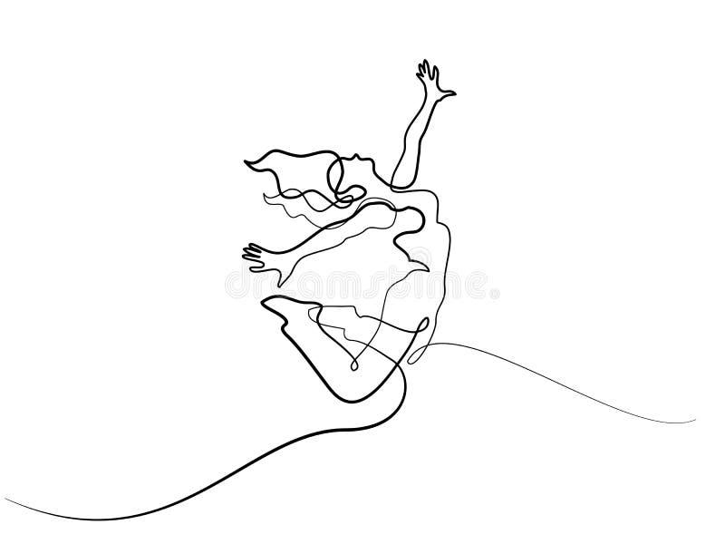 Happy jumping woman stock illustration