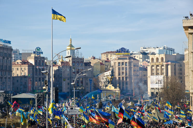 Download Continuous Euromaidan In The Ukrainian Capital Editorial Photo - Image of people, pro: 36280446