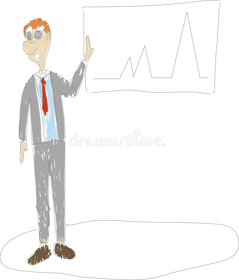 Continuous hand drawing of business situation - standing businessman drawing rising diagram stock illustration