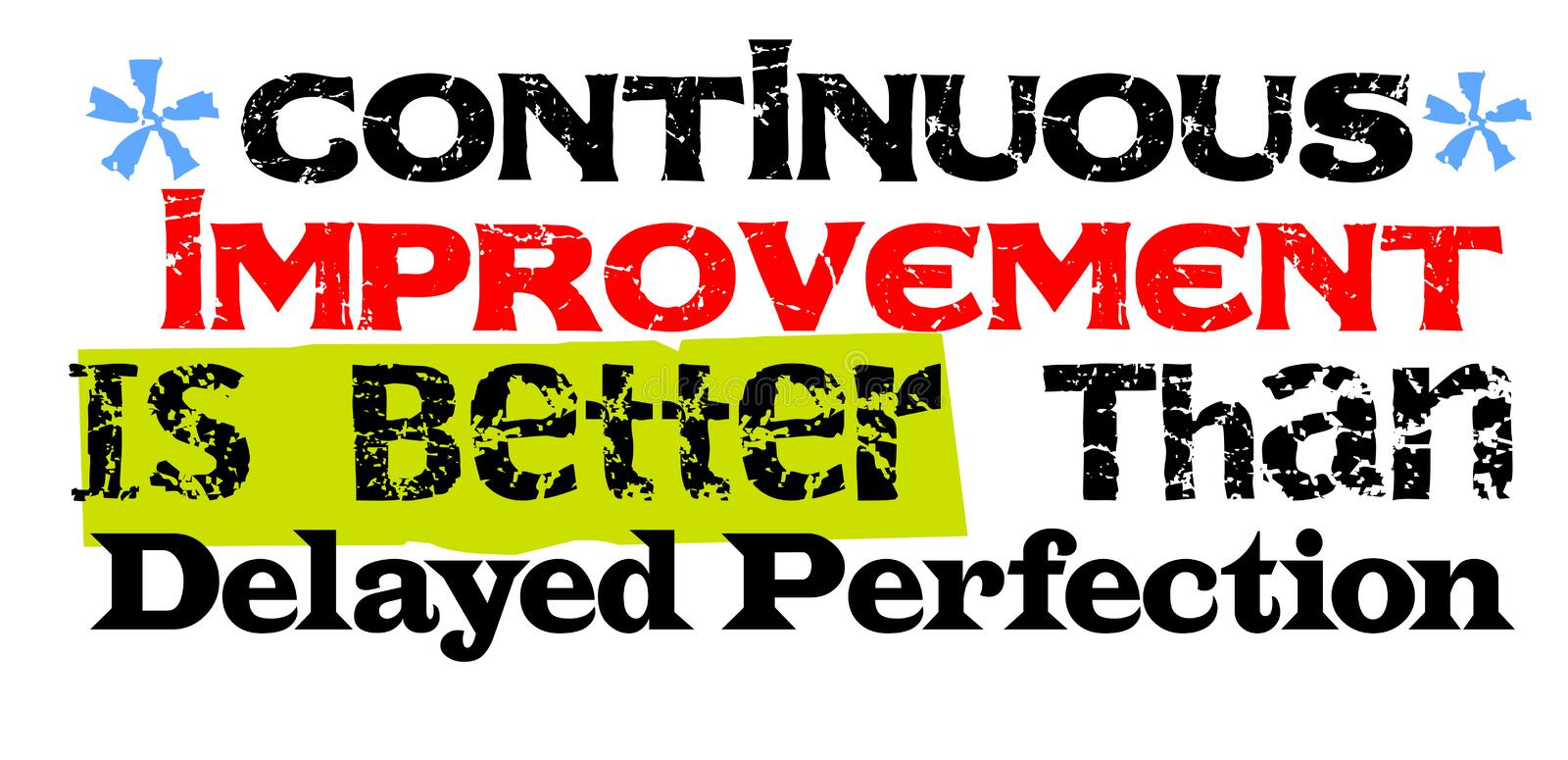 Continuous Improvement Is Better Than Delayed Perfection. Creative typographic motivational poster royalty free illustration