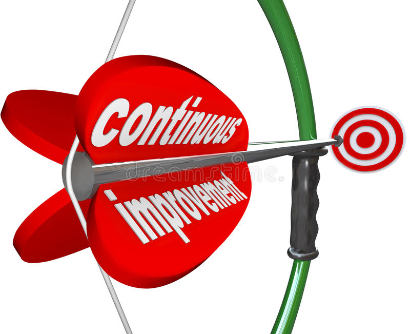 Continuous Improvement Bow Arrow Constant Better Progress. The words Continuous Improvement on an arrow airmed by a bow at a target to illustrate constant royalty free illustration