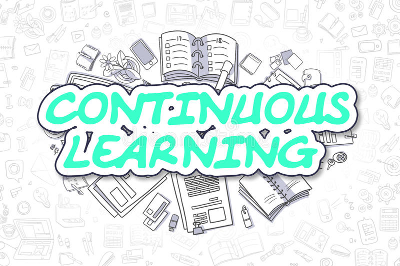 Continuous Learning - Cartoon Green Word. Business Concept ...