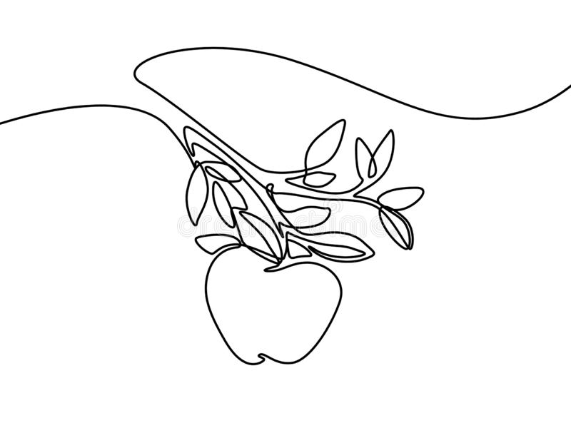 Continuous line apple in hand. Vector illustration. stock illustration