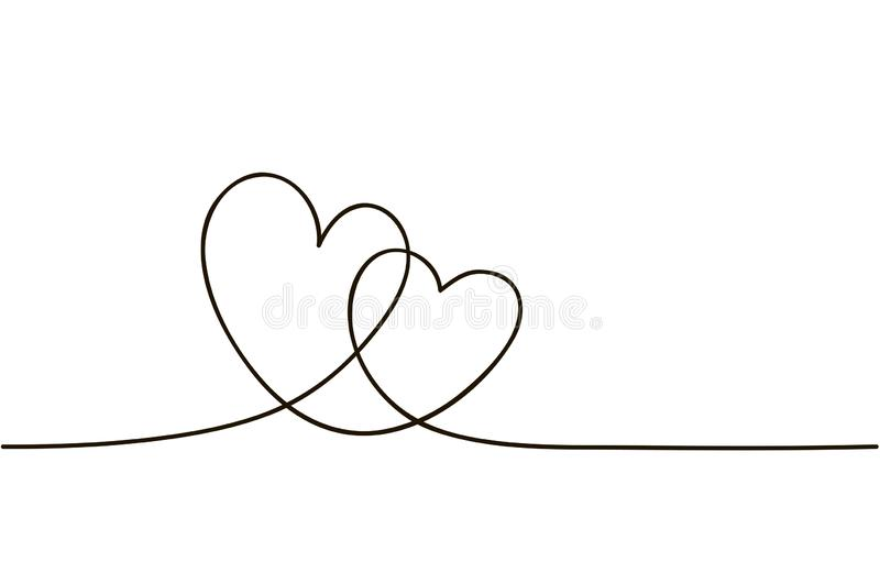 Continuous line art drawing. Couple of hearts symbolize love. Abstract hearts woman and man. Vector illustration.  royalty free illustration