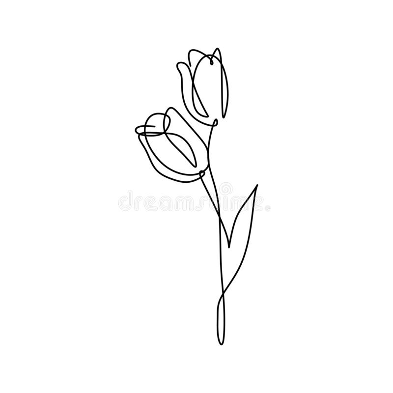 Continuous line art drawing of minimal flower hand drawn vector illustration single one design. One line art drawing of minimal flower hand drawn vector stock illustration