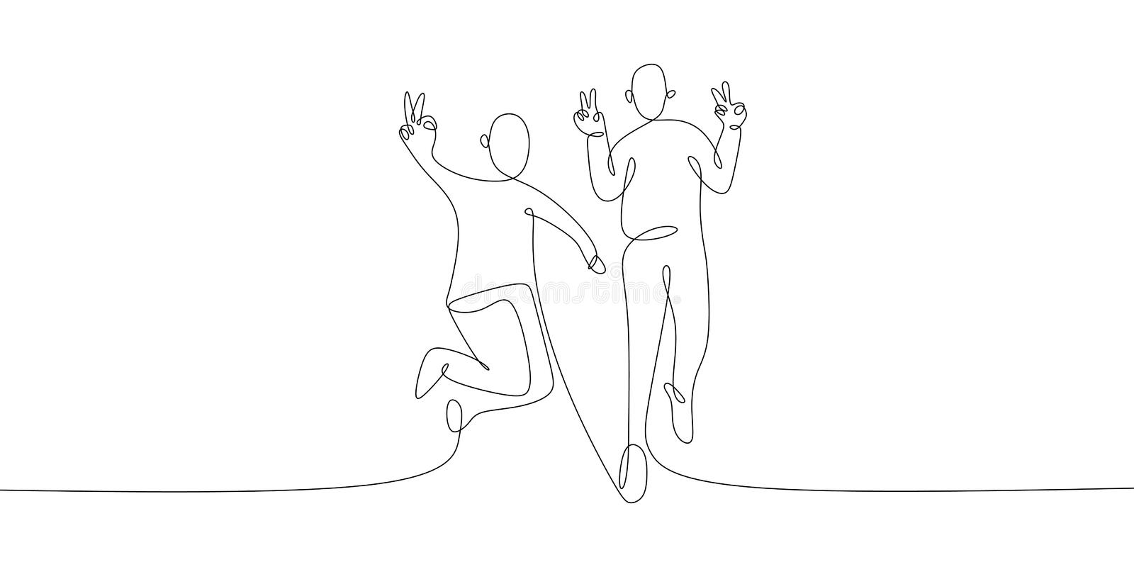 Continuous line art drawing of two person rising his peace symbol with their hands. Minimalist design banner vector illustration. Sketch people linear isolated vector illustration