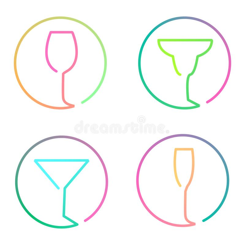 Continuous line art logo set of different glasses royalty free illustration