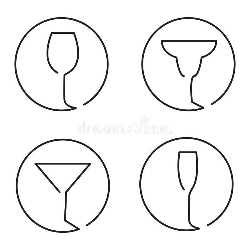Continuous line art logo set of different glasses stock illustration