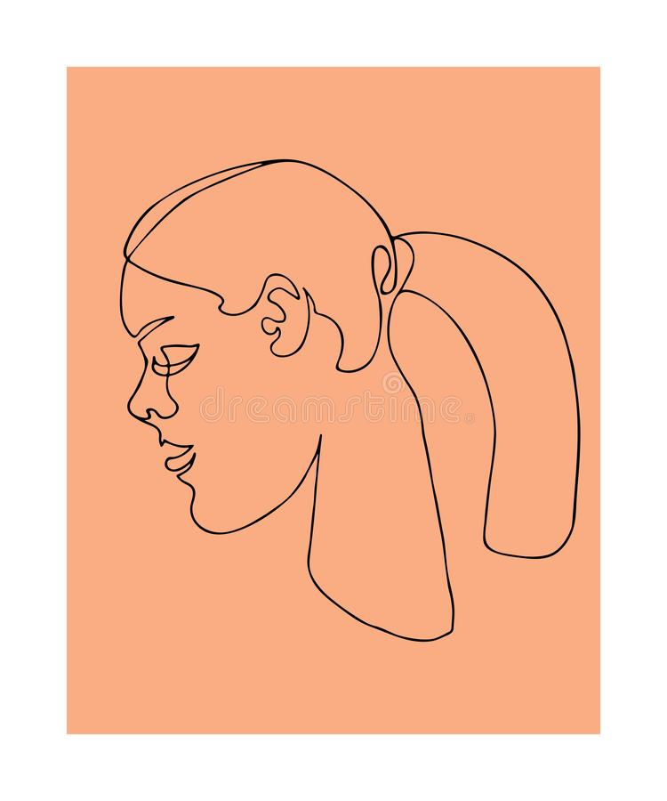 Continuous line art. One line drawing. Black and white minimalist graphic. Art of women face and hairstyle. Continuous line art. One line drawing. Black and royalty free illustration