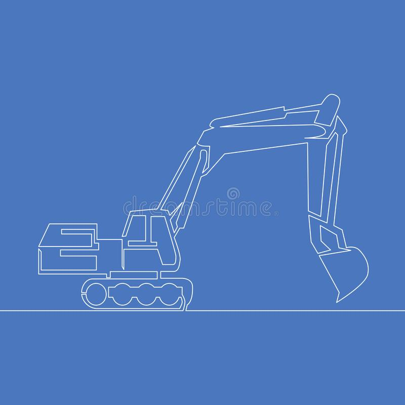 Continuous line art or One Line Drawingbackhoe Vector construction illustration concept royalty free illustration