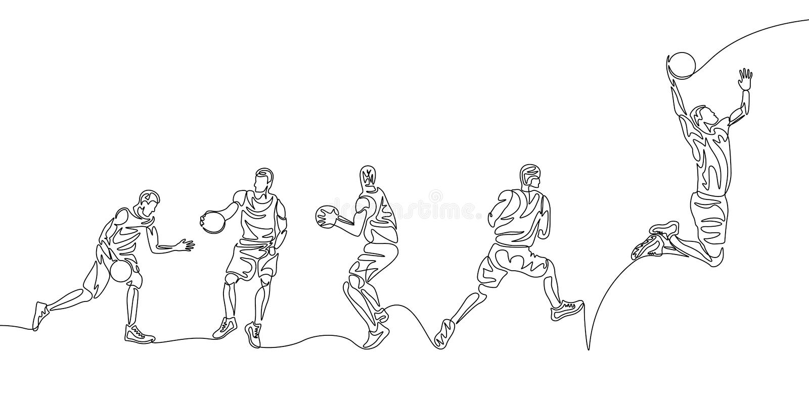 Continuous line basketball player step by step doing slam dunk vector illustration