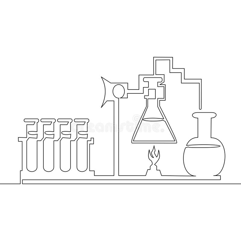 Continuous line Chemical lab retorts Vector royalty free illustration