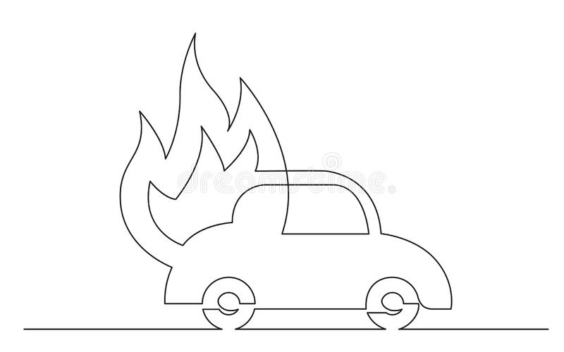 Continuous line concept sketch drawing of car fire symbol royalty free illustration