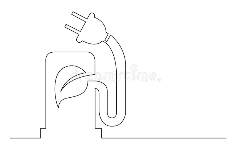 Continuous line concept sketch drawing of green fuel electric car charging station vector illustration