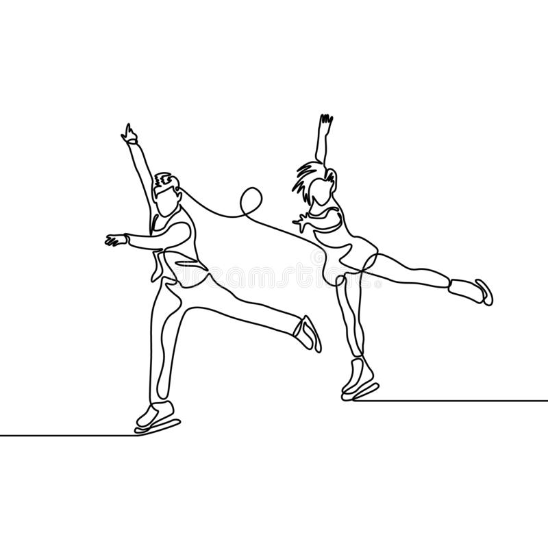 Continuous line couple of figure skaters, pair figure skating stock illustration