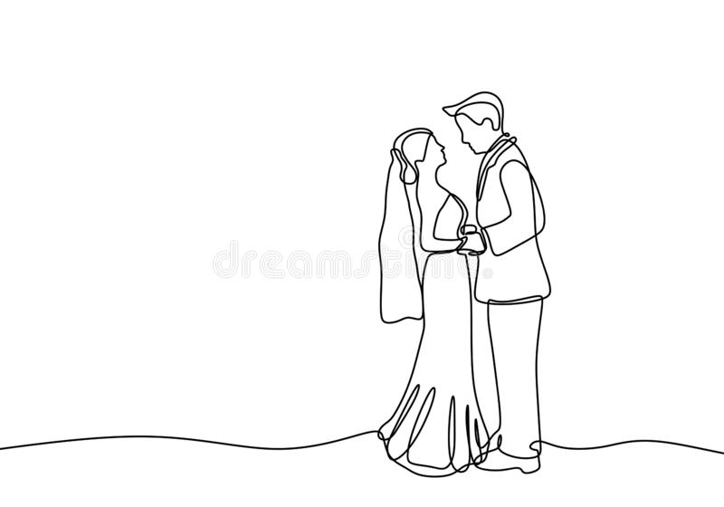 Continuous line couple in wedding dress lovable theme isolated on white background. Drawing, one, love, hand, art, illustration, hands, vector, holding, people stock illustration