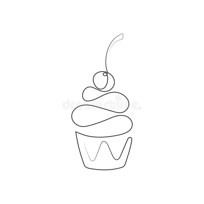 Continuous line cupcake with cherry on top isolated on white background. Vector illustration. vector illustration