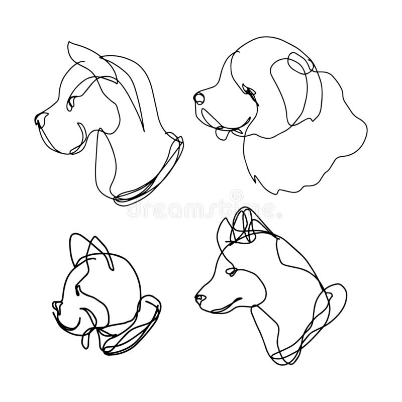 Continuous line dog set, contains 4 breeds: great dane, retriever, french bulldog and husky. Creative hand drawn style. vector illustration