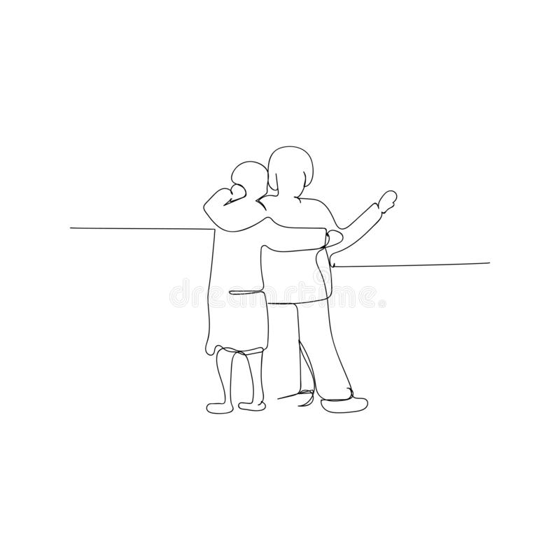 Continuous line drawing of elderly couple hugging and walking. isolated sketch drawing of elderly couple hugging and walking. Line concept. outline stock illustration