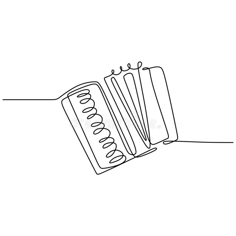 continuous line drawing accordion music instrument vector one lineart simplicity illustration minimalist design vector illustration
