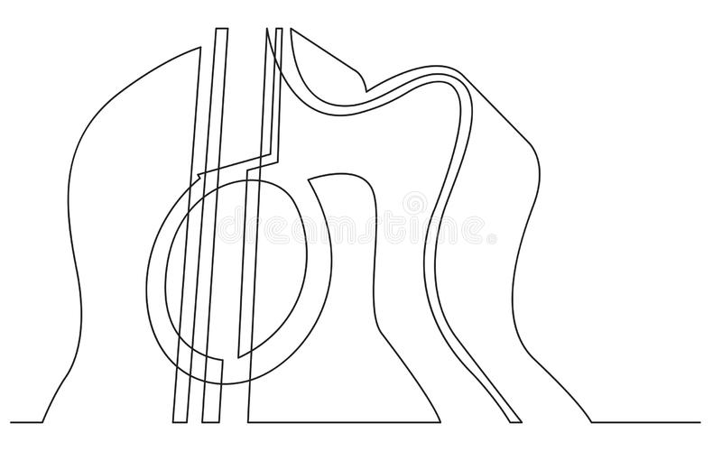 Continuous line drawing of acoustic guitar closeup view. Vector linear monochrome style image vector illustration